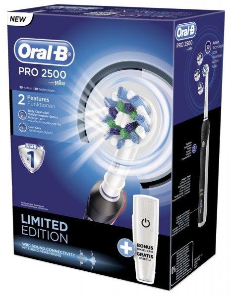 (Amazon) Braun Oral-B Pro 2500 Black Elektrische Zahnbürste mit Reiseetui für 46,99€ mit Coupon statt 59,85€