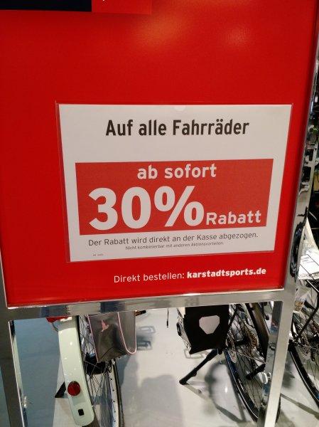 [lokal München] 30 % auf alle Fahrräder bei Karstadt Sport
