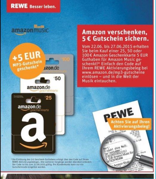 5€ Amazon Mp3-Gutschein bei Kauf einer Amazon-Geschenkkarte bei Rewe geschenkt