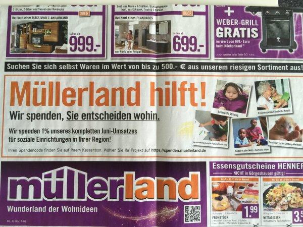 Bei Müllerland einkaufen und 1% vom Umsatz an soziale Initiativen spenden