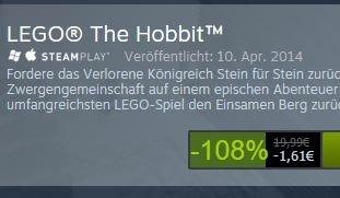 STEAM (DIREKT) Lego Der Hobbit Minus 108% ;-) für nur 1,61€ (schnell sein, wahrscheinlich ein Preisfehler?)