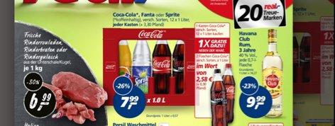 Real Bundesweit 1 Kasten 12x1l Coca-Cola, Fanta, Sprite kaufen und gratis 2 Flaschen kostenlos dazu,  ab 22.06. ( a' 0,57,- pro Liter )