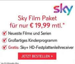 Sky Sommer Angebot inkl.  HD Festplattenreceiver