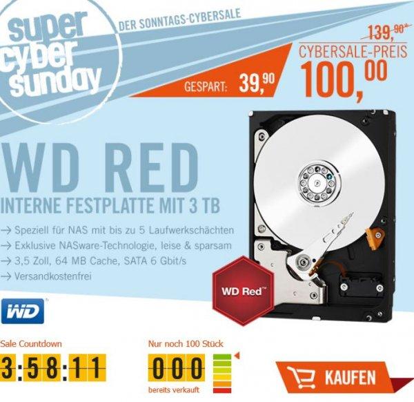 Western Digital WD30EFRX Red 3TB interne Festplatte für NAS-Storage (nur heute im Cybersale) für 100€