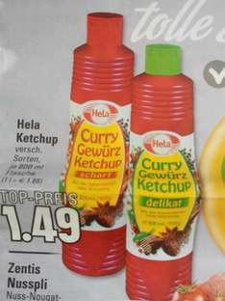Trinkgut und Edeka Rhein Ruhr Hela Ketchup 800 ml für 1,49 €
