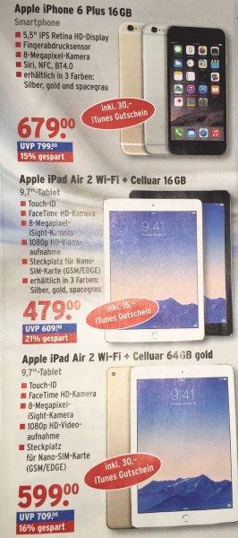 [Lokal Foto Erhardt] Apple iPad Air 2 64GB WiFi + 4G gold 599€ + 30 Itunes Gutschein und Iphone 6 Plus 16 Gb 679€ +30€ Itunes