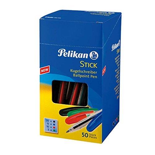 Pelikan Kugelschreiber Stick Box, 50 Stück, schwarz/blau/rot/grün