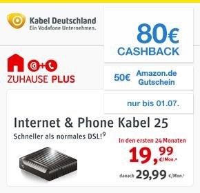 (Qipu) Kabel Deutschland: Internet & Phone 25 mit 80€ Cashback + €50 Amazon.de-Gutschein Diesmal OHNE Bereitstellungspreis!!