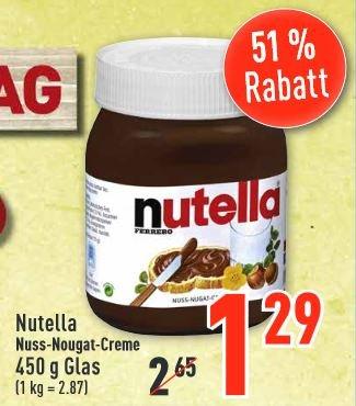 Offline, Lokal am 25.06. Nutella 450g Glas 1,29€ Dodenhof Posthausen