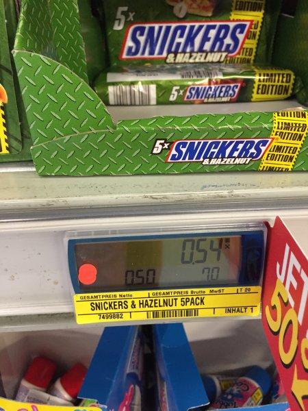 5x Snickers Hazelnut Limited Edition nur f. Gewerbetreibende evtl. lokal
