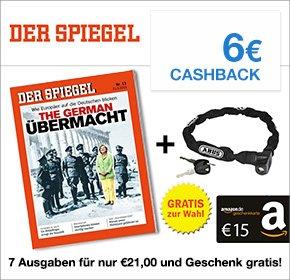 7 Ausgaben DER SPIEGEL für nur 21€ + 15€ Amazon.de Gutschein + 6€ Cashback [QIPU]