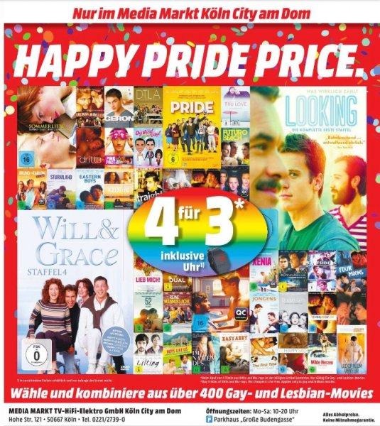 [Lokal Mediamarkt Köln/City Am Dom) ***Der Deal für mehr Toleranz***. Kauf 4 - Zahl 3.Nur Gültig für DVD und Blu-Ray aus dem Gay und Lesbian Film Sortiment + Gratis Uhr