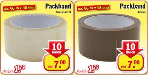 [ZIMMERMANN] KW27 Packband 10 Rollen (Braun oder Transparent je 66 m x 48 mm) für 7,00 € (Angebot) [Gültig bis 04.07.2015]