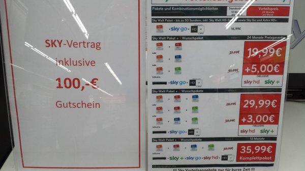 Sky komplett für rechnerisch 480,88 inkl 100 EUR Gutschein (Saturn Düsseldorf)
