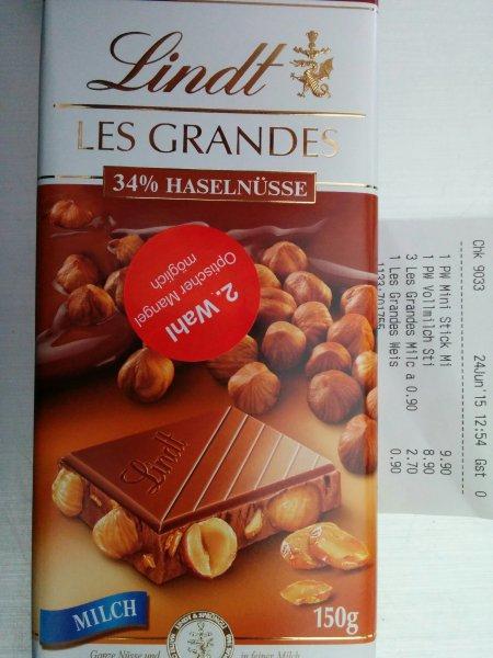 [Lindt Outlet, Ochtrup, lokal] Schokolade: Lindt Les Grandes 150g 2. Wahl, entspricht 0,60€/100g