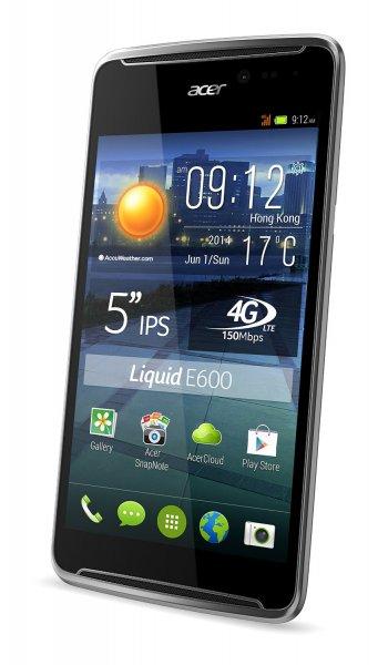 Acer Liquid E600 Plus LTE Smartphone (5 Zoll) IPS, LTE, Quadcore 1,2GHz, 2GB RAM, 16GB intern, grau-schwarz für 129 € > [ebay.de] > cyberport