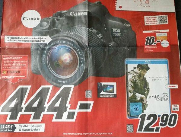 CANON EOS 700D Kit Spiegelreflexkamera mit 18-55 mm IS STM – (50€ Cashback möglich = 394€) bei Media Markt [lokal HH?]