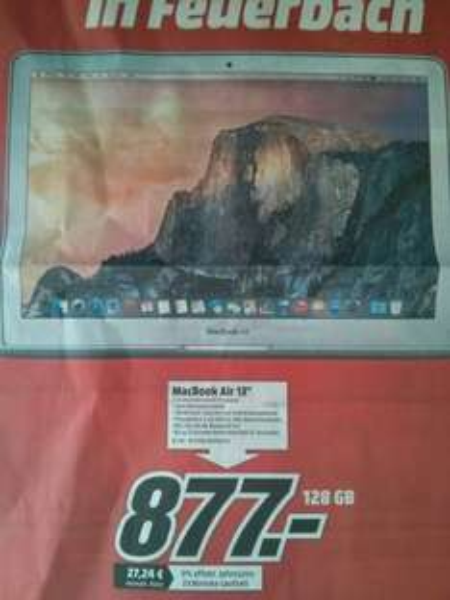 """[Lokal Media Markt Stuttgart] MacBook Air 13,3"""" für 877€"""