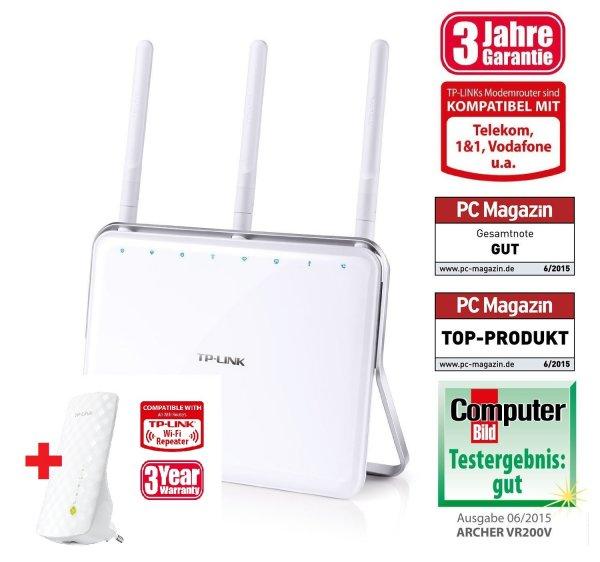 [Amazon Blitz]+[TP-Link-Aktion] Router VR200v WLAN-AC VDSL/ADSL DECT VoIP IPTV Gigabit-LAN + *GRATIS* Repeater RE200 AC Dualband WLAN = 109,00 EUR statt 171,00 EUR
