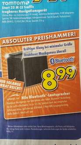 [Lokal Euronics Bayreuth/Pegnitz] Speedlink Hilo Bluetooth Lautsprecher für nur 8,99 €