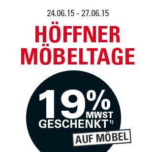 Möbel Höffner gibt 19 % (effektiv 15.96%) auf Möbel + kostenlose Lieferung bei Sofas und Sessel
