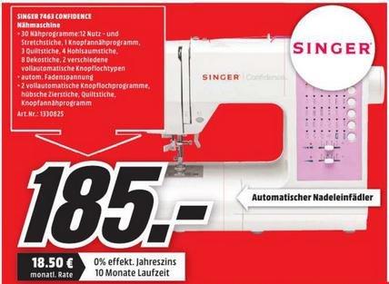 [Lokal Zwickau] Singer 7463 Confidence Computernähmaschine für 185,00€ @ MediaMarkt Zwickau