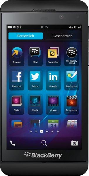 [Allyouneed ab 10.00 Uhr] Blackberry Z10 schwarz EU [4,2 Zoll HD-Display, 1.5 GHz Dual-Core-Cpu, 2GB RAM, 8MP Kamera] für 179,90€ Versandkostenfrei