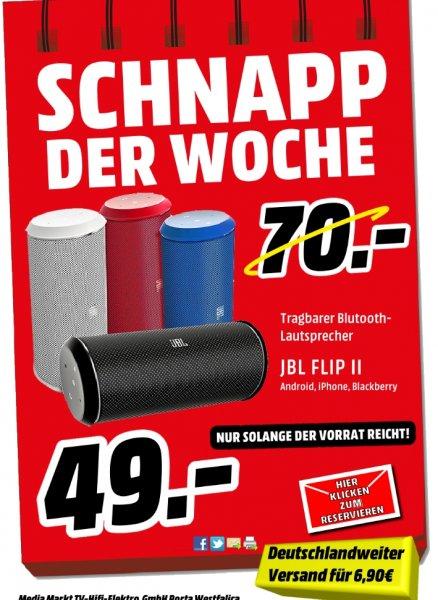 [Lokal/ Bundesweit Mediamarkt Porta Westfalica] JBL Flip II portabler Stereo-Aktiv-Lautsprecher (Bluetooth, NFC, Bassreflex) verschiedene Farben für je 49,-€**Deutschlandweiter Versand möglich mit 6,90€ Versandkosten**