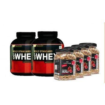 Optimum Nutrition 2 x ON 100% Whey Gold Standard (2273g) + 4 x Layenberger Müsli LowCarb 550g