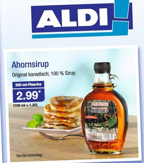 |ALDI-Nord| ab 09.07.15 | Ahornsirup original kanadisch | 100% Sirup | 250ml |