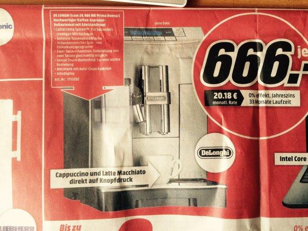 Delonghi ECAM 28.466.MB PrimaDonna S Kaffeevollautomat, EUR 666, [MediaMarkt Trier - lokal?]