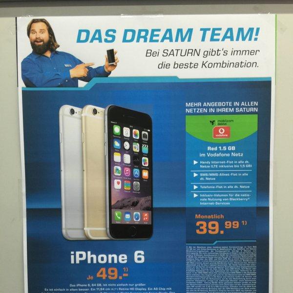 Saturn Alexanderplatz Apple iPhone 6 64 GB mit Vodafone Red 1,5 GB mtl. 39,99 € mit einmaliger Zuzahlung von 49 €