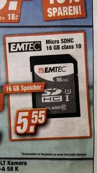 (Offline) Expert: EMTEC 16GB SDHC Class 10 für 5,55€