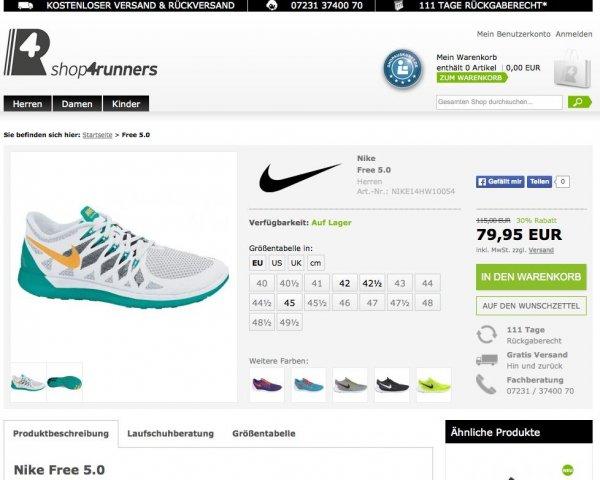 Nike Free 5.0 verschiedene Modelle in vielen Größen zwischen 79,95 EUR und 89,95 EUR