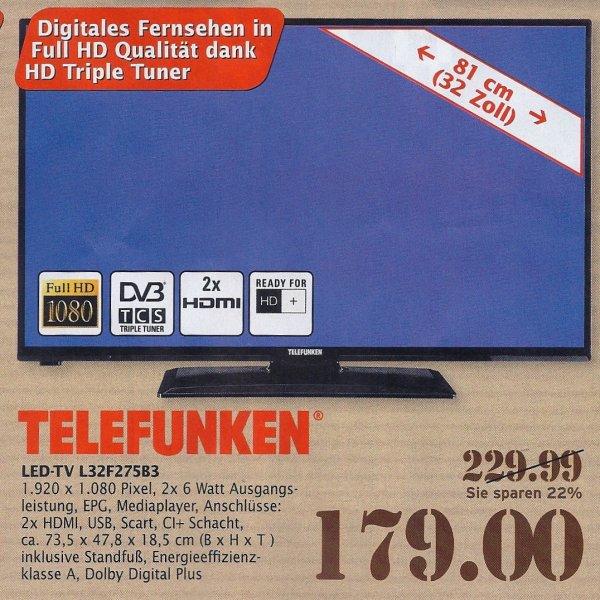 [Marktkauf] Telefunken 32'' LED TV FHD, Triple Tuner für 179€ Lokal: ULM/Senden/Riedlingen
