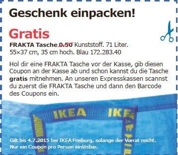 Ikea Freiburg - Frakta Tasche Gratis mit Coupon bis 04.07.2015