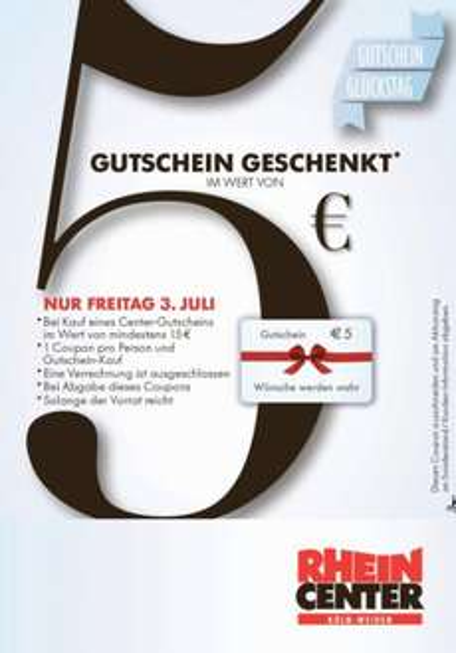 [LOKAL 03.07.15 Rhein-Center Köln Weiden] Beim Kauf einer 15€ Geschenkkarte gibt es weitere 5€ gratis