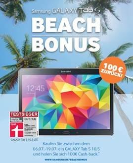 100 € Samsung Cashback auf das Galaxy Tab S 10.5 im Zeitraum 06.07.2015 – 19.07.2015