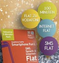 Vodafone Prepaidkarte - 3 Monate lang 100 Frei-Minuten, Vodafone-Flat, SMS-Flat und Internet-Flat kostenlos