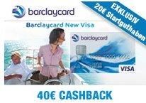 Barclaycard New Visa mit 20€ Startguthaben + 40€ Cashback - beitragsfreie Kreditkarte *UPDATE3*
