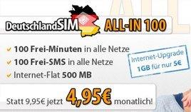 100 Freiminuten, 100 Frei-SMS, 500MB Internet-Flat für 3,95€ pro Monat im o2-Netz *UPDATE3*