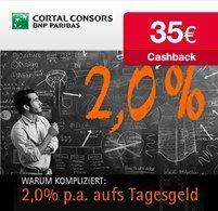 2% Zinsen aufs Tagesgeld und 35€ Cashback bei Cortal Consors *UPDATE*