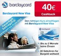 Barclaycard New Visa + 20€ Startguthaben + 40€ Cashback - beitragsfreie Kreditkarte *UPDATE*