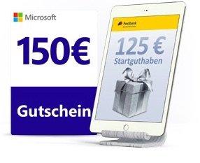 Postbank Giro plus – kostenloses Girokonto mit 125€ Startguthaben oder 150€ Microsoft-Gutschein für Neukunden *UPDATE*