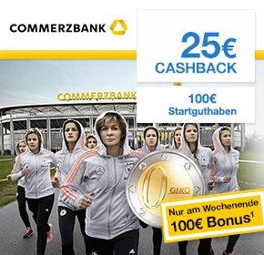 Commerzbank: 100€ Startguthaben (+ ggf. weitere 50€) + 25€ Qipu Cashback + 11000 Miles & More Meilen - kostenlos ab 1200€ Geldeingang