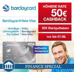 Barclaycard New Visa mit 50€ Cashback + 20€ Starguthaben – Beitragsfreie Kreditkarte
