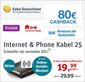 Kabel Deutschland - Internet & Telefon 25 mit 80€ Cashback + 50€ Amazon Gutschein *UPDATE*