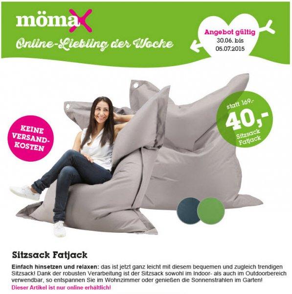 [online] Sitzsack XXL Fatjack bei mömax versandkostenfrei, drei Farben zur Auswahl evtl. m. NewsletterGutschein dann nur 30€