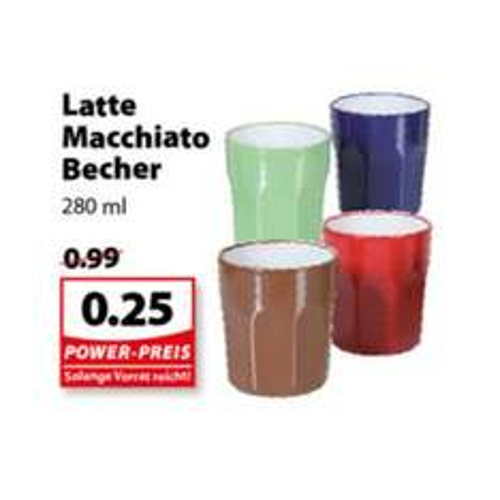 [FAMILA NORDWEST] KW28 Latte Macchiato Becher 280ml für nur 0,25€