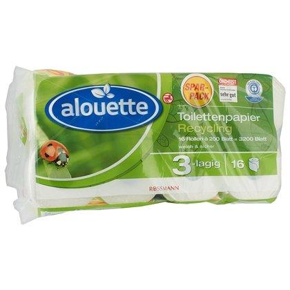 [Rossmann] 3200 Blatt (16x200) Klopapier von Alouette - nur noch heute & mit 10% Coupon für 3,28 !